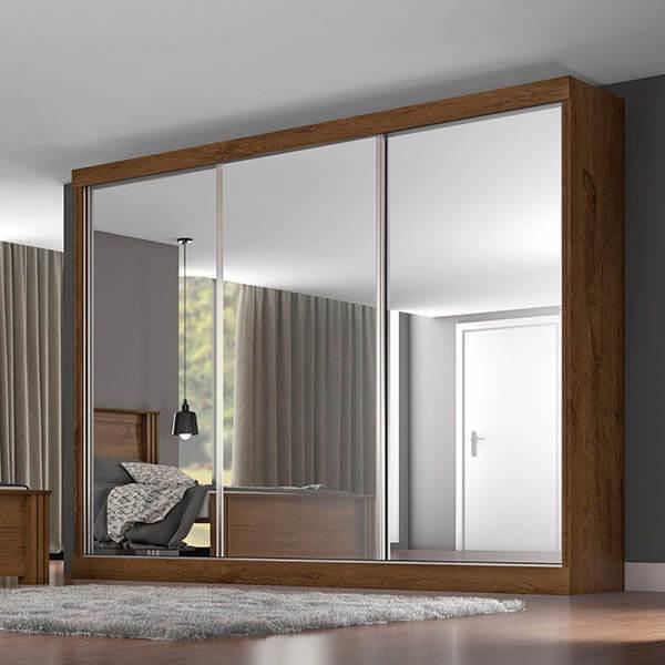 Guarda roupa casal com espelhos de 3 portas