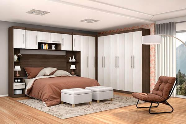 Guarda roupa modulado casal com cama embutida
