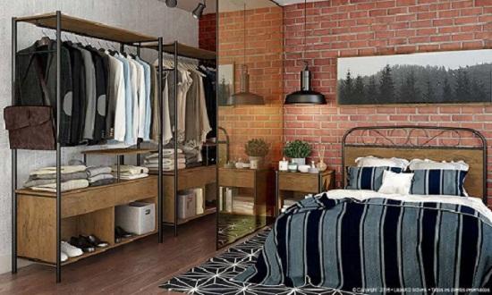 Guarda roupa sem porta em quarto completo