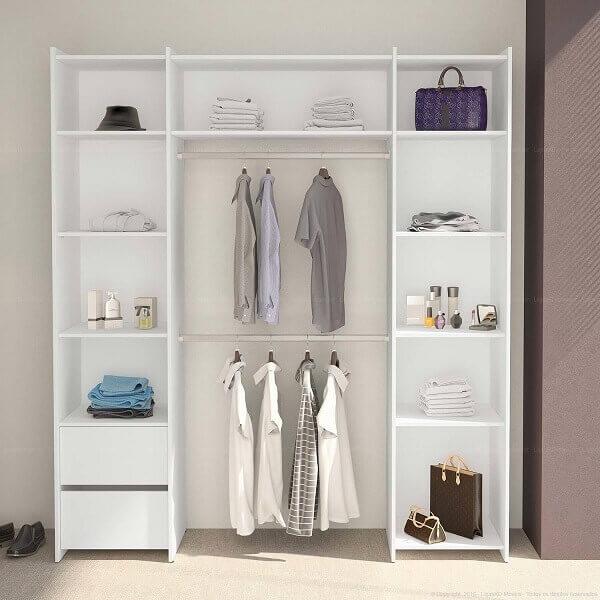 Guarda roupa sem porta modulado em quartos