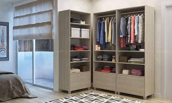 Guarda roupa sem porta para quarto de casal