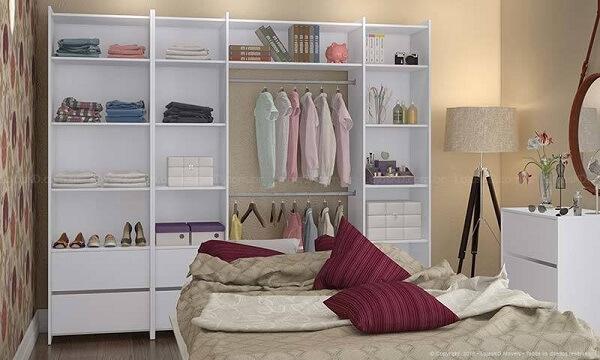 Guarda roupa sem porta para quarto de criança