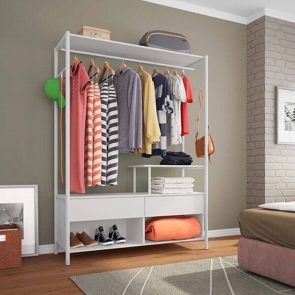 Guarda roupa sem porta para quarto pequeno