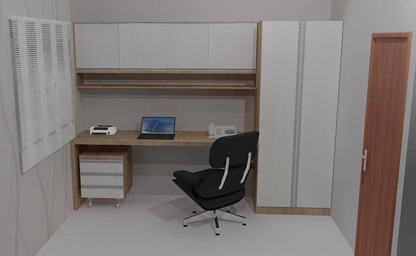 Home office com gaveteiro com rodinhas sob mesa Projeto de Estela Franco