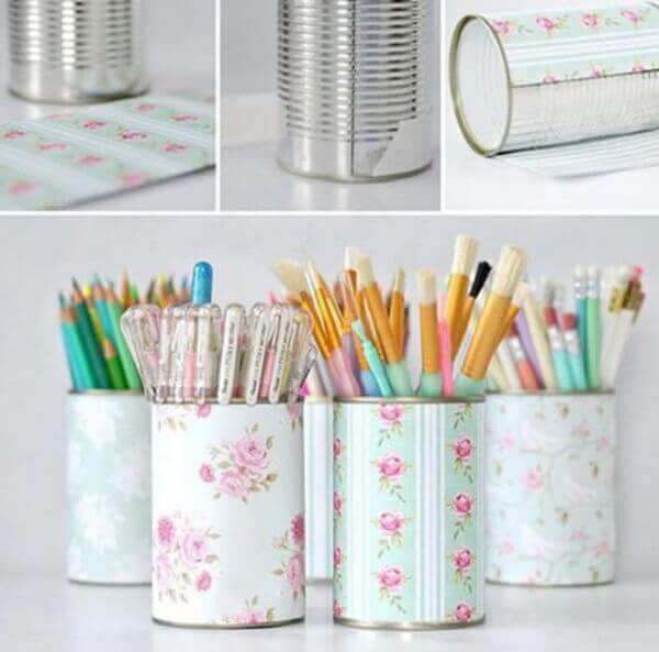 Latas decoradas papel scrapbook