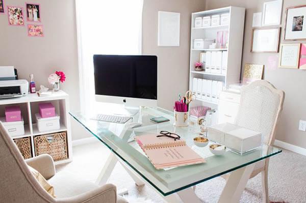 Mesa de vidro para escritório clean