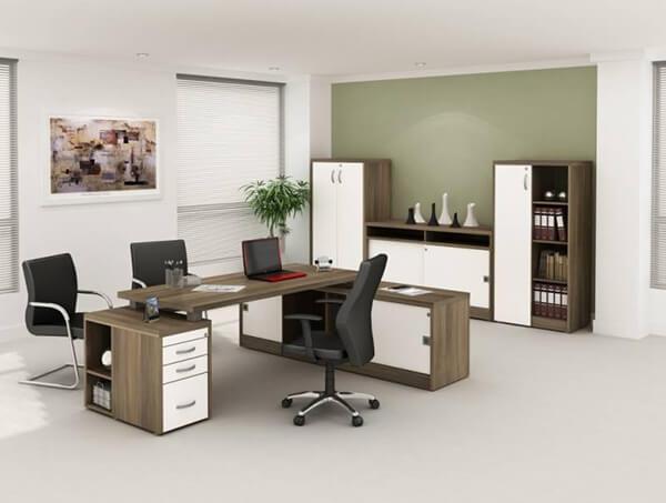 Mesa para escritório com gaveta padrão de madeira