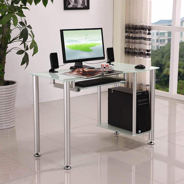 Mesa para escritório de vidro com pés em alumínio fosco