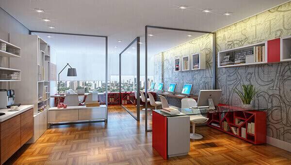 Mesa para escritório de vidro e base vermelha