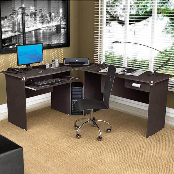 Mesa para escritório em L simples