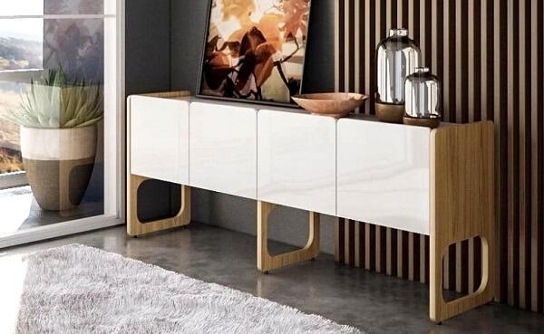 Modelo de buffet para sala de jantar branco com 4 portas