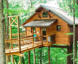 Modelo de casa na árvore com guarda corpo de madeira