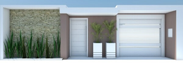 Muros de casas com vários revestimentos