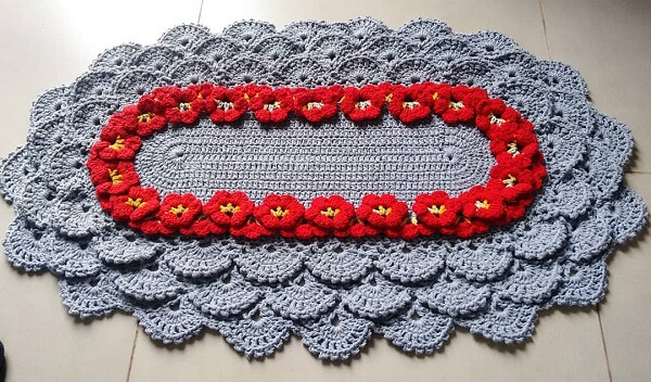 O tapete de crochê oval pode complementar a decoração da cozinha