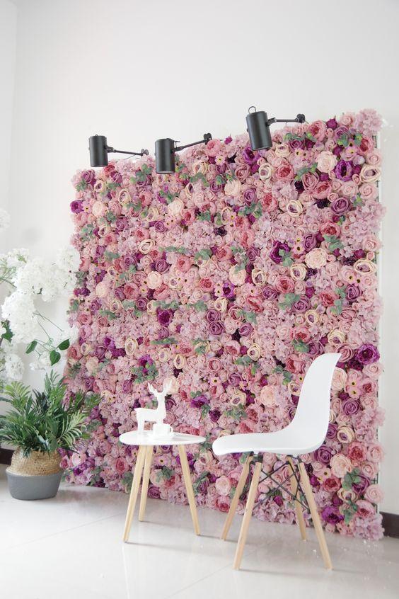 Painel de flroes para fotos em casa