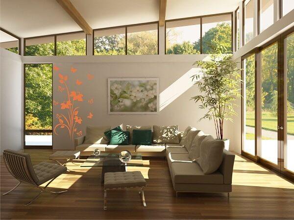 Parede de vidro em sala