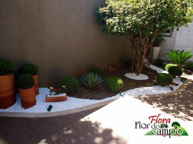 Pedras de jardim seixos do rio e paisagismo Projeto de Flora Flor do Campo