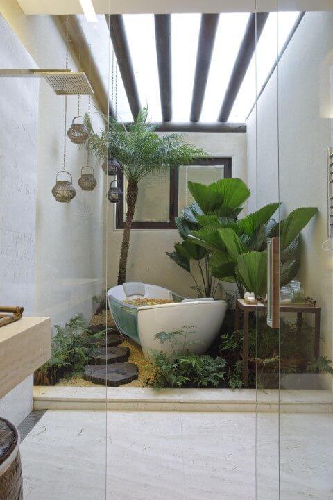 Pedras para jardim de inverno com banheira Projeto de Eduarda Correa