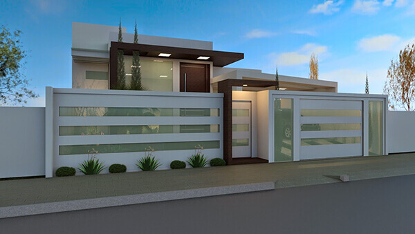 Portão de alumínio para casa moderna