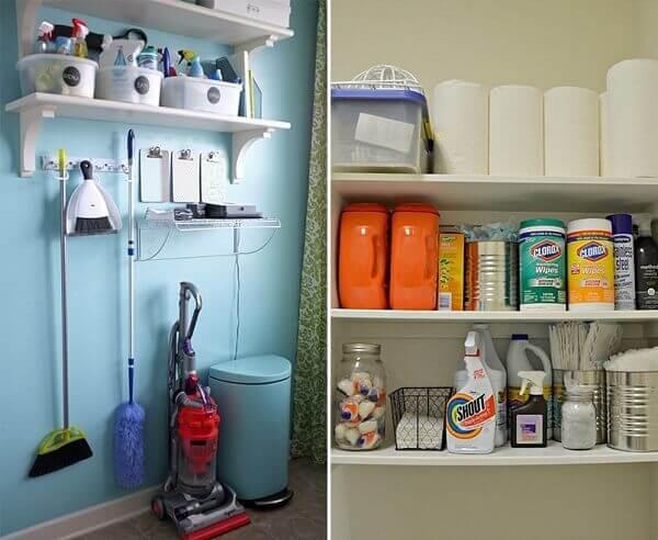 Produtos de limpeza em armário alto
