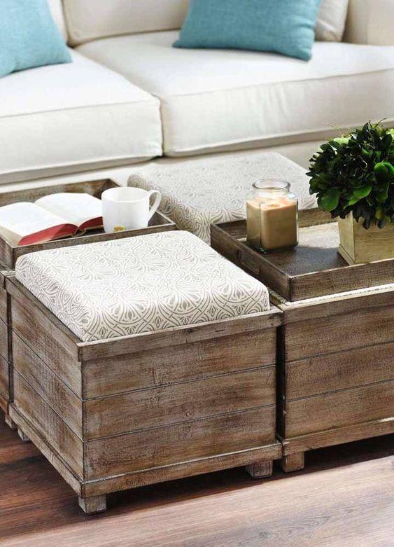 Puff bau de madeira de centro de mesa