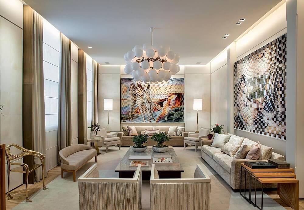 Quadros grandes para sala ampla encantam os olhos de quem passa pelo ambiente
