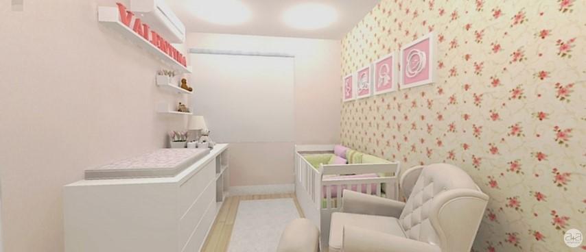 02fd2ee7a Quarto de bebê menina com papel de parede florido Projeto Bruna Cesário de  Almeida