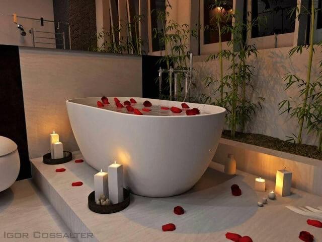 Sala de banho com ofurô branco Projeto de Igor Eduardo