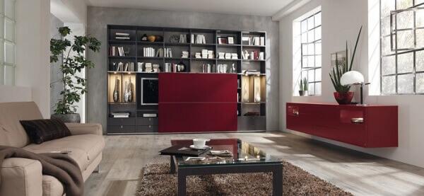 Salas modernas com estante
