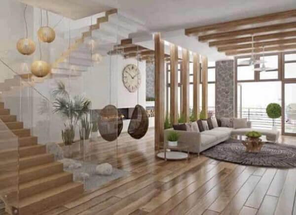 Salas modernas com piso em madeira