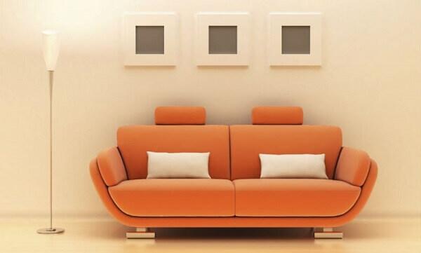 Salas modernas com sofá laranja