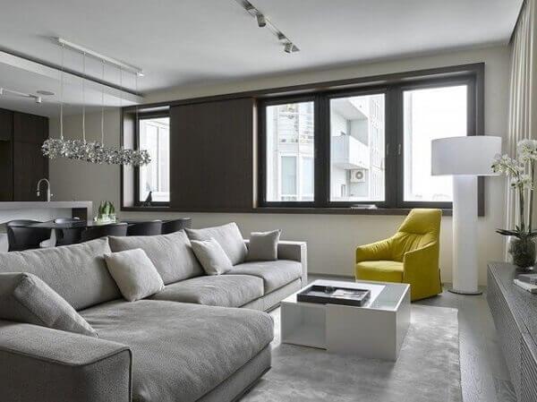Salas modernas com sofá confortável