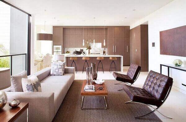Salas modernas pequenas e simples