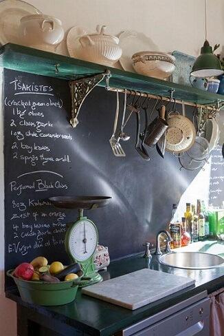 Tinta lousa com receitas na parede da cozinha