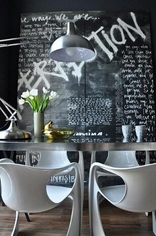 Tinta lousa em parede artística
