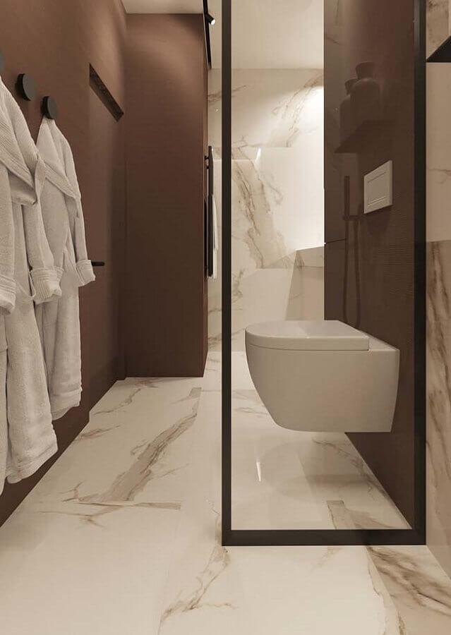 banheiro com Mármore calacatta oro - foto pinterest