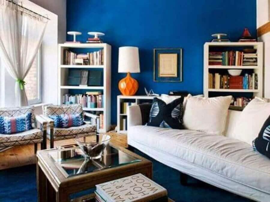 combinação de cores para sala azul e branca Foto Fátima Brandani
