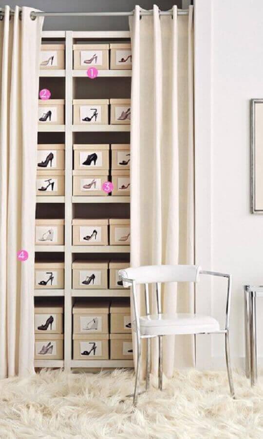 como organizar sapatos com caixas
