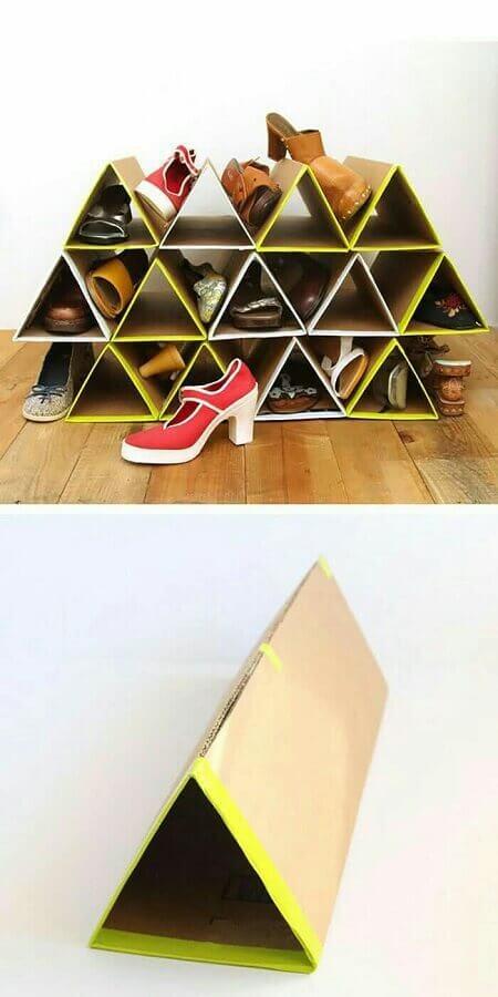 como organizar sapatos gastando pouco usando papelão
