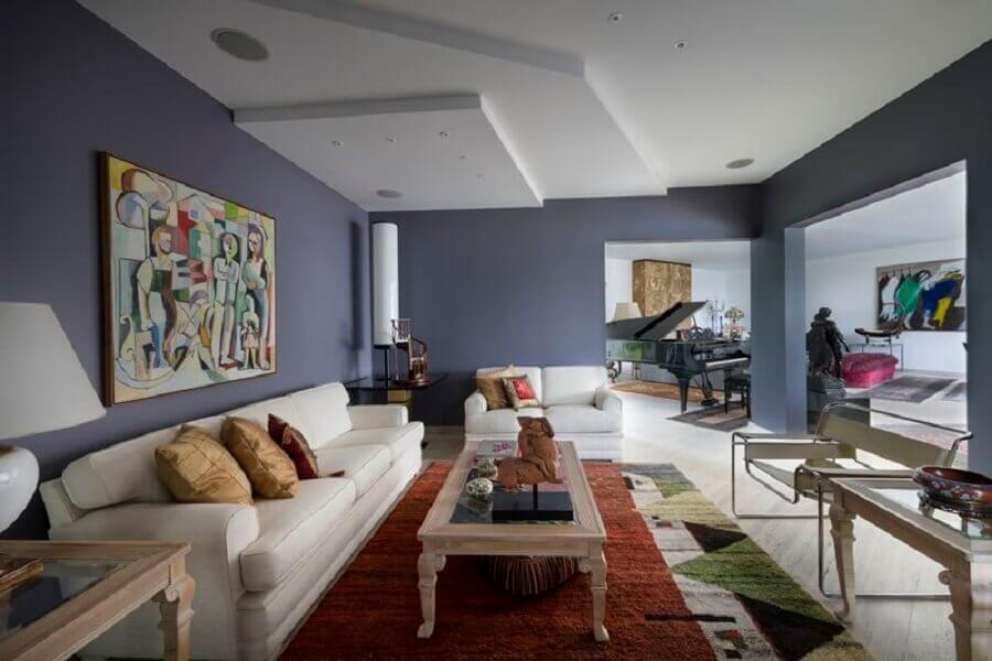 cores de parede para sala ampla com sofá branco Foto Decor Adorabile