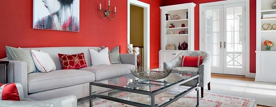 cores de tinta para sala com parede vermelha Foto Pinterest