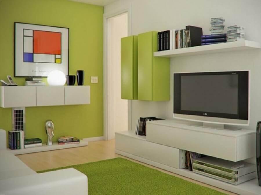 cores para pintar sala pequena verde e branca Foto Moda & Decor