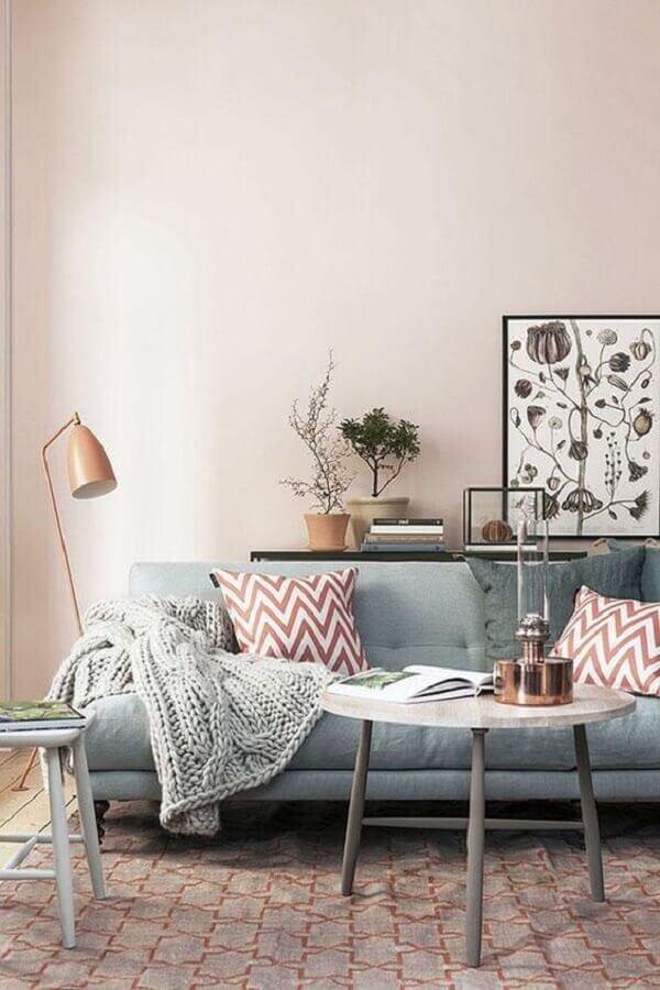 cores para sala com decoração romântica Foto Pinterest