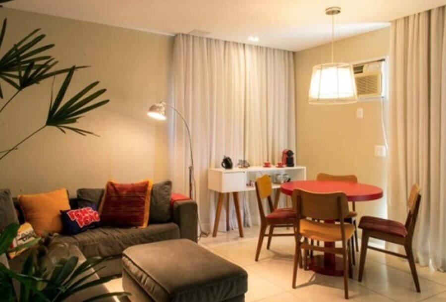 cores para sala de estar e jantar integradas Foto FG Design