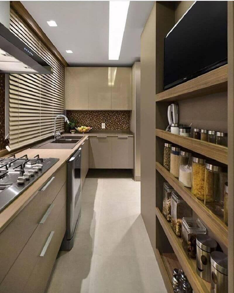cozinha compacta decorada na cor bege escuro