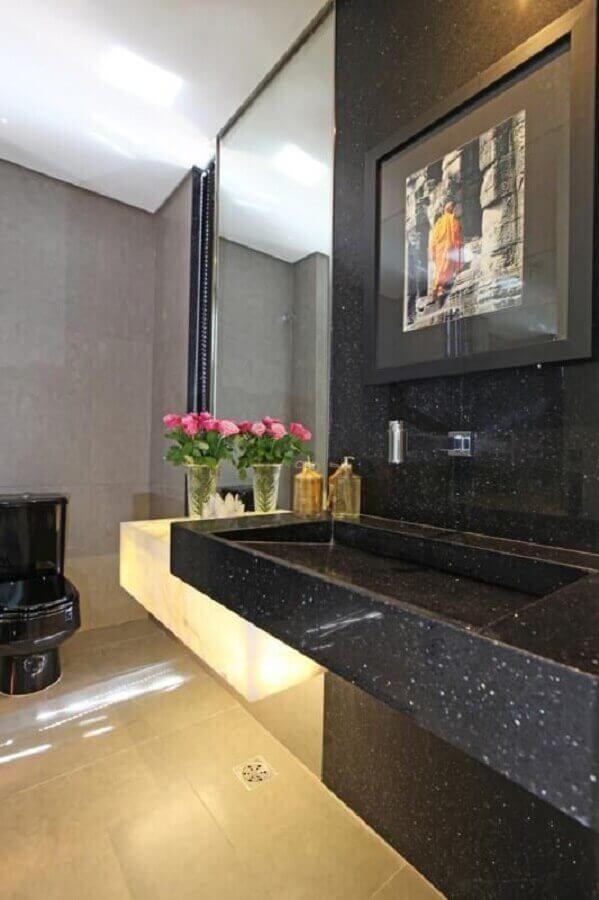 decoração com mármore preto para lavabo