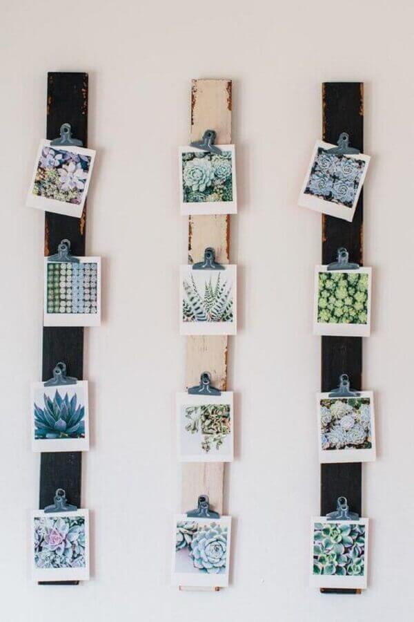 decoração com mural de fotos em vigas de madeira