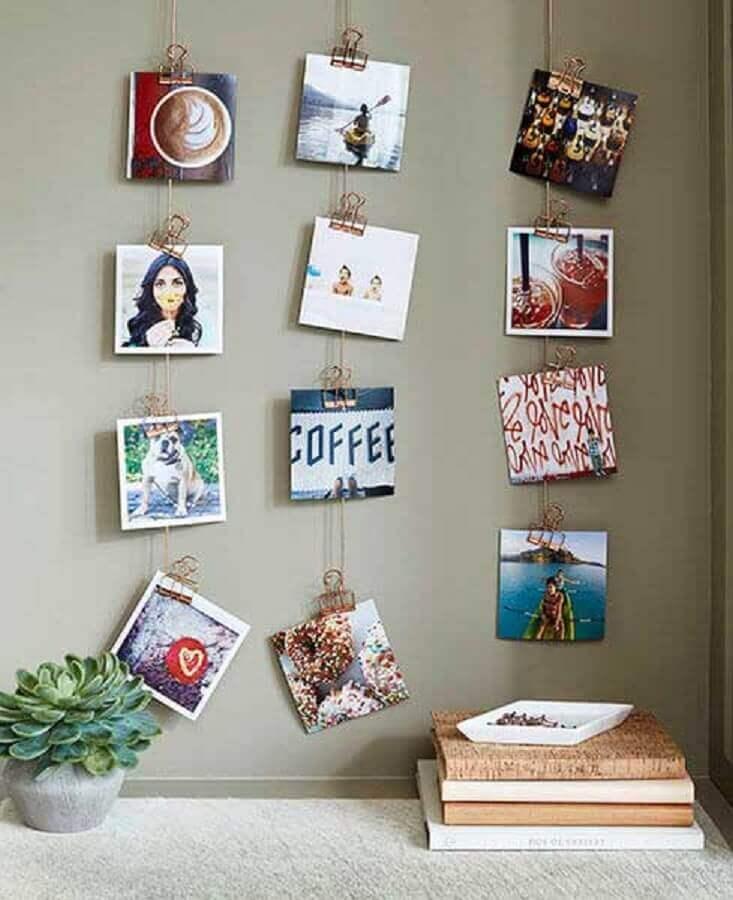 decoração com mural de fotos para parede
