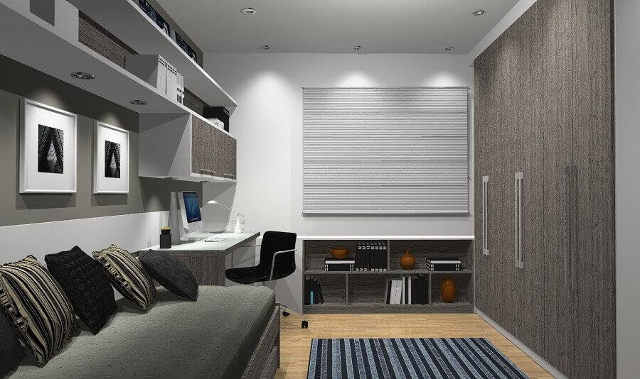 decoração para quarto cinza com guarda roupa solteiro