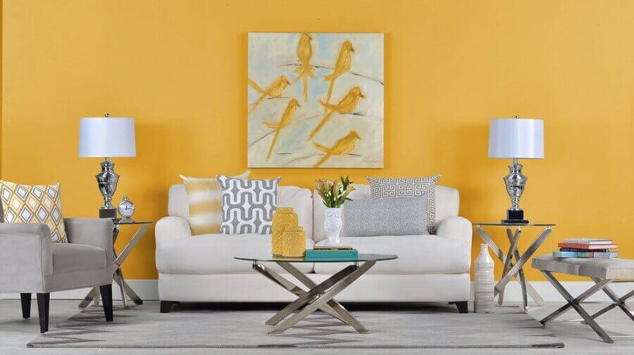 decoração para sala branca e amarela Foto Inter Construtora
